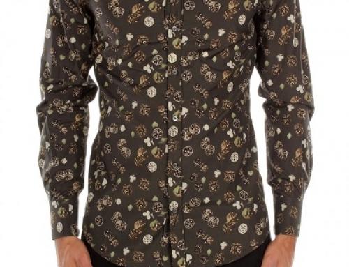 Cămașă din bumbac slim fit imprimeu multicolor bărbați Dolce&Gabbana