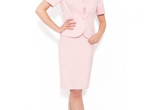Costum damă elegant roz din jaquard, cu sacou și rochie, Monique Holly
