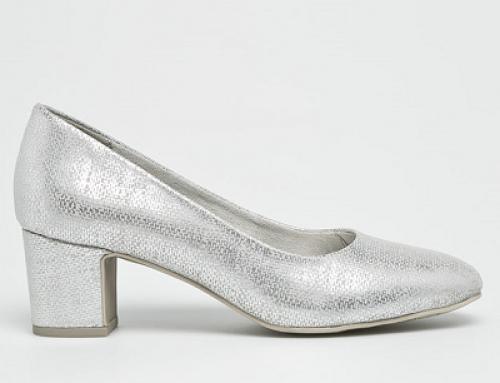 Pantofi de damă eleganți argintii cu toc gros Marco Tozzi Iren