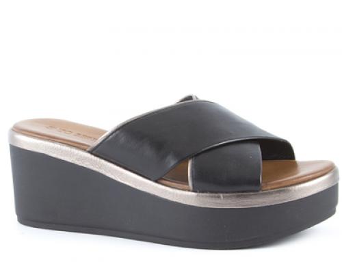 Papuci de damă negri cu platformă și din piele naturală BNV Alitta