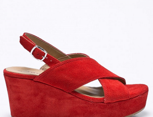 Sandale de damă roșii din piele naturală și cu platformă Tamaris Yvette