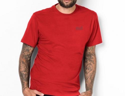 Tricou lejer roșu din bumbac moale pentru bărbați Jack Wolfskin