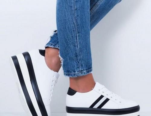 Pantofi sport de damă albi și cu platformă de 6,5 cm Aiova Dikte