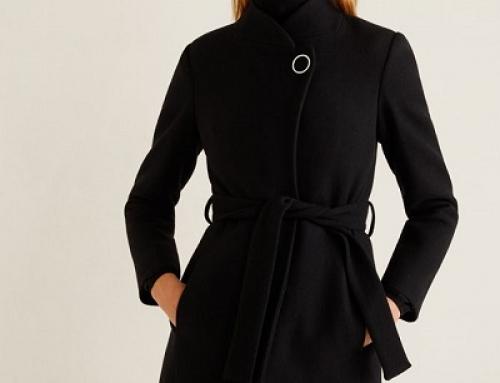 Palton de damă elegant negru din lână, cu guler ridicat, Mango Tierra