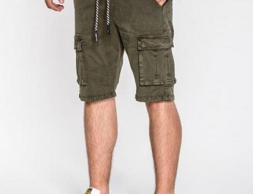 Pantaloni scurți verzi din bumbac cu șnur în talie, bărbați, Como HSLT