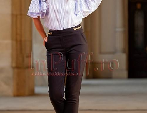 Pantaloni de damă office bleumarin conici, cu talie medie, Agne INP