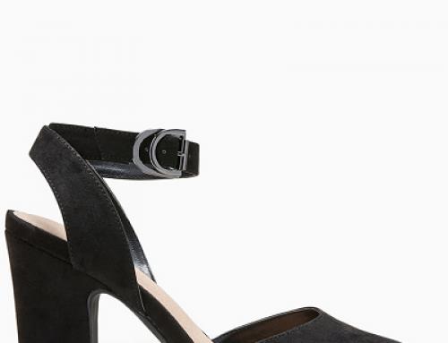 Pantofi de damă office negri cu toc gros și baretă pe gleznă Next Edla