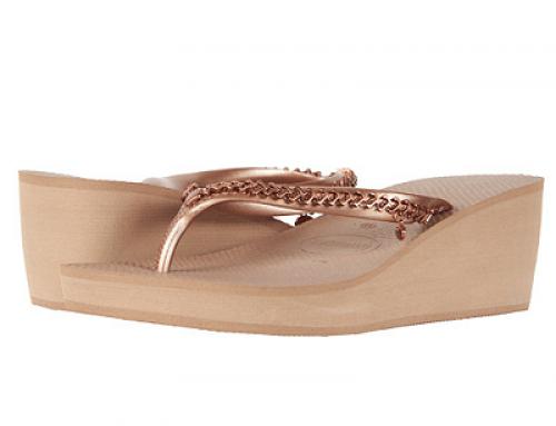Papuci de damă cu platformă, rose auriu metalizat, Havaianas High