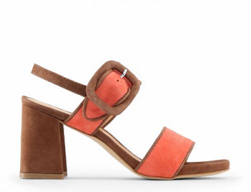 Sandale de damă corai din piele naturală, toc gros, Fontana 2.0 Megan