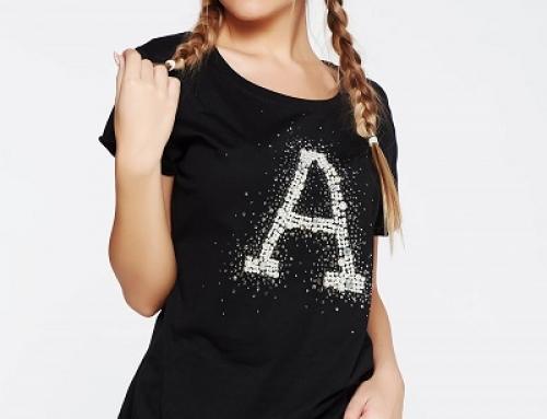 Tricou de damă negru din bumbac și cu pietre strass SunShine Sofine