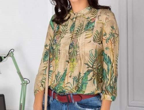 Bluză damă bej cu imprimeu tropical, cu pliuri la bust, Minerva Dyf