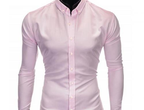 Cămașă roz din bumbac slim fit, mâneci lungi, pentru bărbați, Reimar HSLT