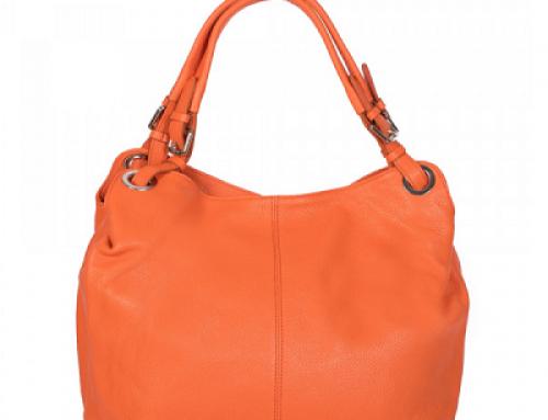 Geantă de damă Shopper portocalie din piele naturală Nicole Zevo