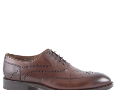 Pantofi eleganți maro bărbați cu model, din piele naturală, E.Bertini KD14