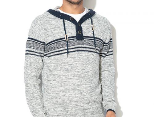 Pulover tricotat cu nasturi și cu glugă pentru bărbați EDC by Esprit
