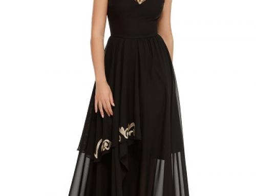 Rochie lungă de ocazie neagră din voal asimetric suprapus, Milena M.G