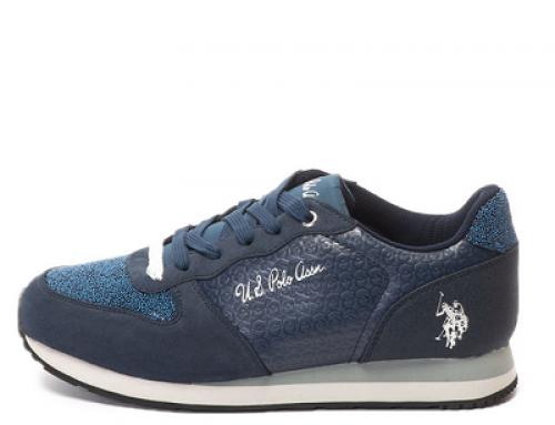 Pantofi sport damă albaștri U.S Polo Vanity cu aplicații cu mărgele