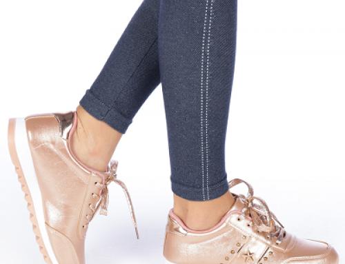 Pantofi sport damă cu aspect metalizat, cu ținte, bej, Tremo KLPD