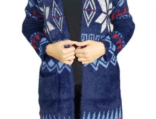 Cardigan damă lung din tricot cu lână și mohair, cu imprimeu, Alma Ursa