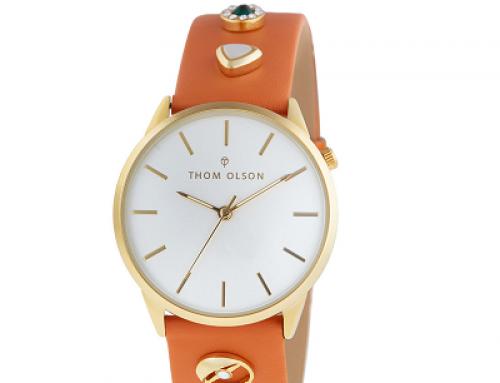 Ceas de damă auriu Thom Olson, Quartz, 3 ATM, brățară din piele