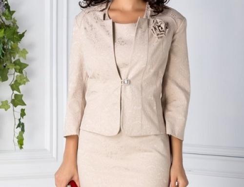 Costum damă de seară cu sacou și rochie, cu model floral, Jenny Dakota