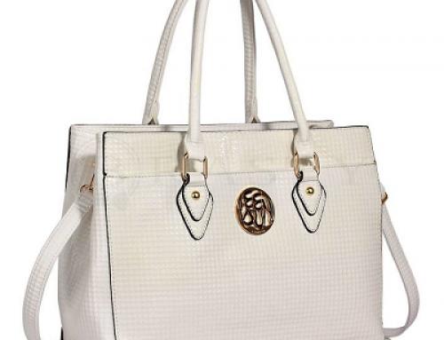 Geantă de damă office albă cu accesoriu metalic Fashion LS00511