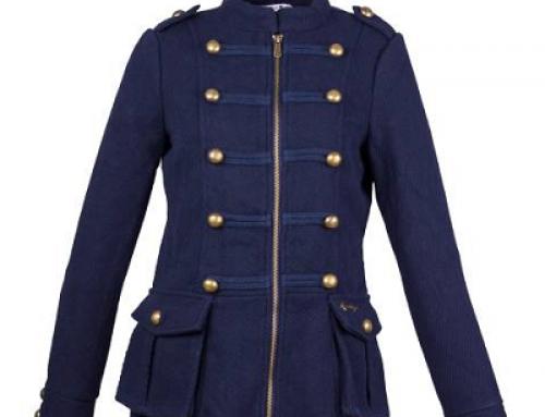 Palton de damă scurt albastru și cambrat, cu epoleți, Gladys Yndis