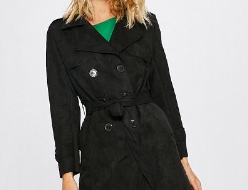 Palton de damă drept negru cu epoleți și curea în talie Answ-023Z