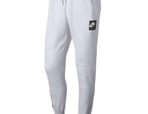 Pantaloni sport gri din bumbac bărbați Nike Air N Pant Flc M Nsw