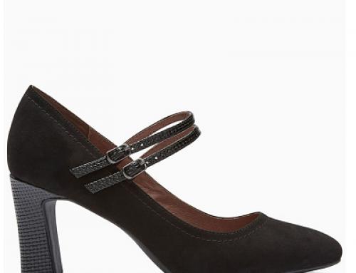 Pantofi damă office negri Nest Mary Jane, cu toc masiv și barete