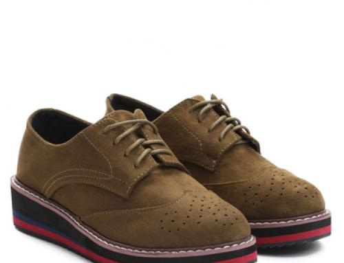 Pantofi de damă verzi Oxford cu platformă de 2 cm, Piedra Gilda