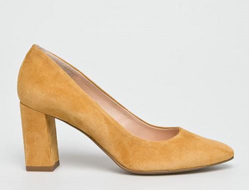 Pantofi de damă galbeni din piele întoarsă și tocuri groase Wojas Ranya