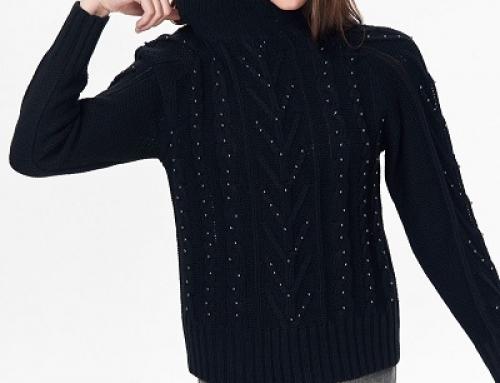 Pulover damă tricotat negru cu aplicații strălucitoare Top Secret WQ14F