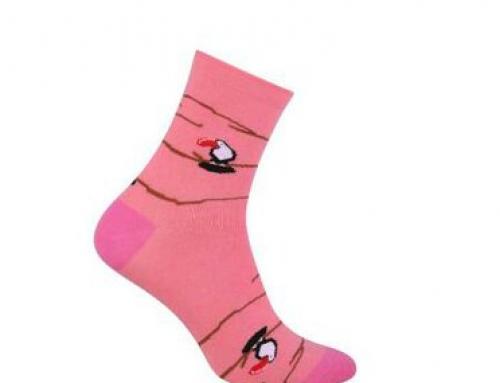 Șosete de damă roz din bumbac și cu imprimeu cu păsări More Toucan