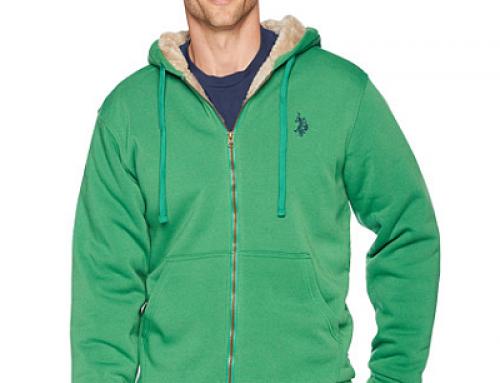 Hanorac gros cu glugă, cu blană, verde, pentru bărbați U.S. Polo Assn Jose