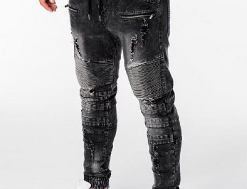 Blugi negri elastici, slim fit, cu șnur și elastici în talie pentru bărbați Rush Vito