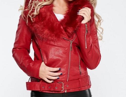 Geacă damă roșie Biker cu guler cu blană, cambrată, cu cataramă, AnneYael