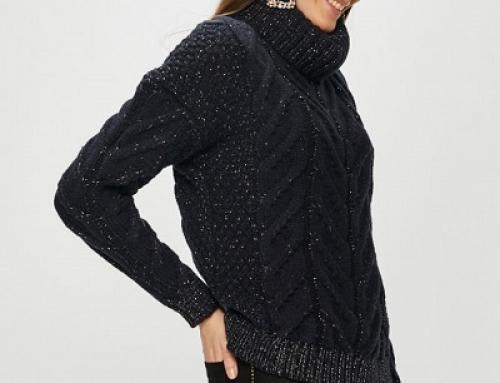 Pulover de damă tricotat lejer cu guler înalt, bleumarin, Morgan Jael
