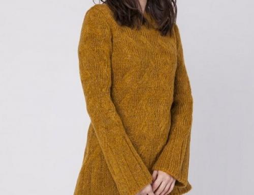 Pulover de damă tricotat galben muștar cu mâneci evazate, Ruby Jane