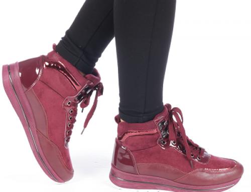 Pantofi sport de damă grena cu talpă înaltă și aplicații lucioase Ederna Lyle