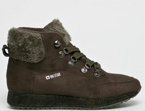 Pantofi sport de damă înalți și îmblăniți, nuanță militar, Big Star Akiva