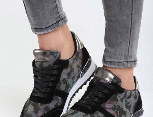 Pantofi sport damă negri stil militar cu imprimeu fluture Magnet Airty