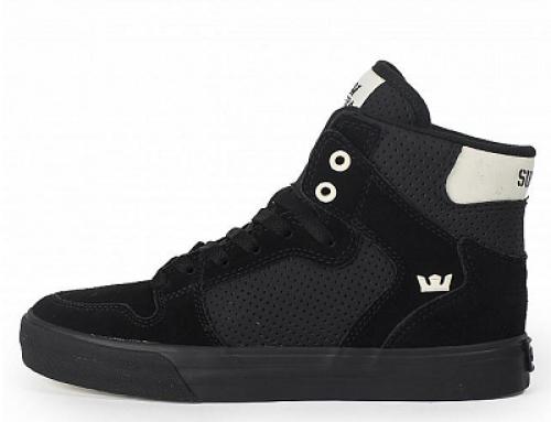 Pantofi sport negri înalți din piele năbuc pentru bărbați Supra Vaider
