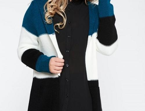 Cardigan damă lung tricotat Oversize cu dungi, glugă și buzunare, Noreen Amory