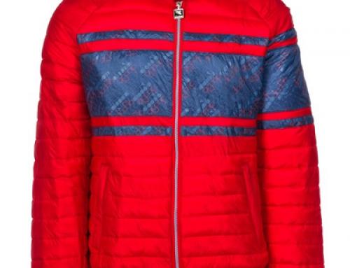 Geacă scurtă roșie cu guler din material textil elastic pentru bărbați Diadora Brett