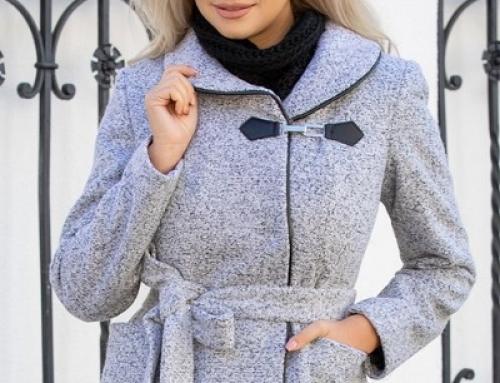 Jachetă de damă scurtă gri din lână, cu capse și cordon în talie, Milady