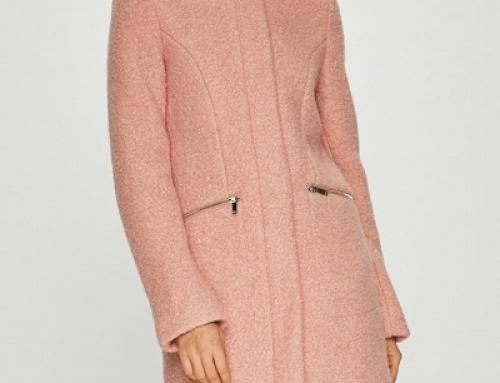 Palton de damă drept, roz, cu amestec din lână, cu fermoar Vero Moda Vita