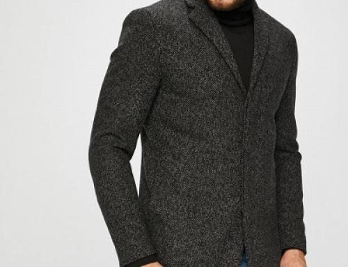 Palton negru smart cu amestec din lână pentru bărbați Selected Armin