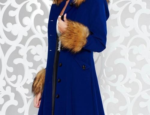 Palton damă elegant albastru din lână cu glugă și blană, în cloș, StarShiners