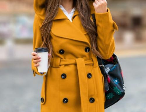 Palton de damă cu glugă și cordon în talie, galben muștar, Katrina Alexis